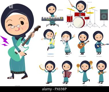 A set of old women wearing hijab playing rock 'n' roll and pop music.There are also various instruments such as ukulele and tambourine.It's vector art - Stock Image