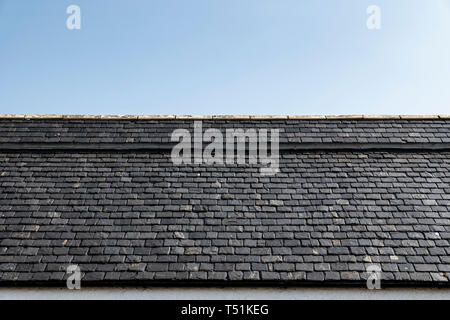 Roof tiles on a traditional Scottish cottage, Poolewe, Scotland. - Stock Image