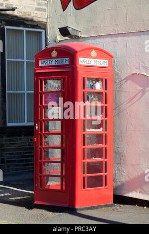 Warley Museum in a telephone box (smallest museum in the world), Warley, West Yorkshire - Stock Image