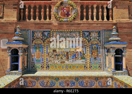 Detail Of The Tiled Spanish Provinces Alcoves Along The Walls Of The Plaza De Espana, Seville, Andalusia, Spain - Stock Image