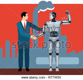 Businessman shaking hands with robot flexing muscles - Stock Image