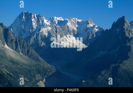 The view from La Flegère above Chamonix, looking along the Mer de Glace to Les Grandes Jorasses and the Rochefort Arete. - Stock Image