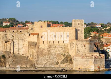 France, Pyrenees Orientales, Cote Vermeille, Collioure, the Royal Castle - Stock Image