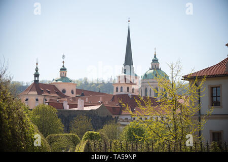 Czech Republic, Prague. A local church in the city. Mid shot - Stock Image