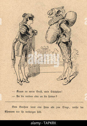 Victorian Cartoon of couple in fancy dress costume, young woman and mature man dress as punch, 1880s, German - Stock Image