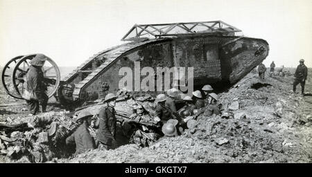 Mark I Male Tank C15, crosses a British trench on the way to attack Thiepval on the Somme, 25th September 1916 - Stock Image