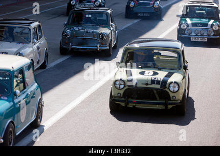 Minis of various ages assemble in the Pit lane for a parade lap, part of the 60th Anniversary celebrations, to be held at the 2019 Silverstone Classic - Stock Image