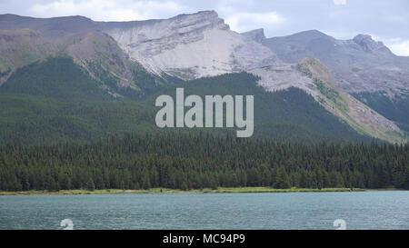 Spirit Island at Maligne Lake, Jasper National Park, Canada - Stock Image