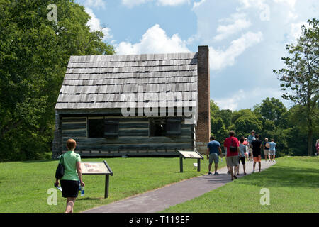 Andrew Jackson's log farmhouse—where the family lived until completion of the mansion—later converted into slave quarters, the Hermitage, Tennessee. - Stock Image