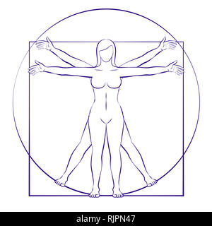 Vitruvian woman. Sacred geometry of female body placed in circle and square - illustration on white background. - Stock Image