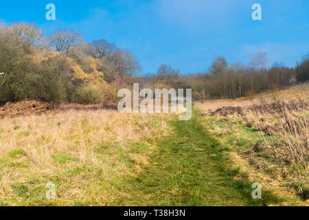 Footpath leading through wooden kissing gate Woolhope Herefordshirs England UK - Stock Image