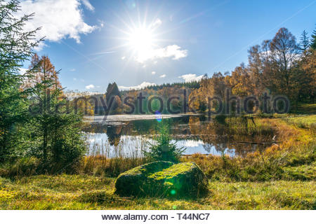 Secluded lake in Scottish countryside - Stock Image