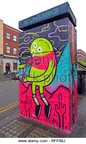 #OutHouseMcr art with cacti, Stevenson Square, Northern Quarter, Manchester, North West England, UK, M1 - Stock Image