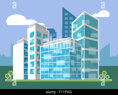 Commercial Real Estate Apartments Represent Property Leasing Or Realestate Investment. Includes Offices And Land Leasing - 3d Illustration - Stock Image