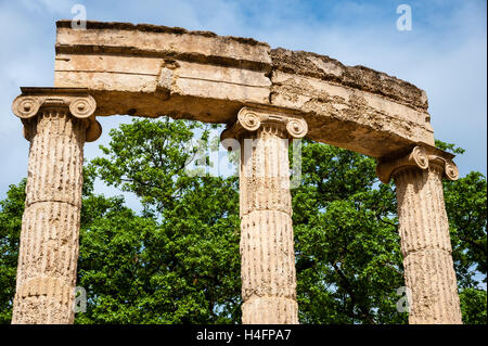 Olympia, Greece. The site of the Olympic Games in classical times. The Philippeion. - Stock Image