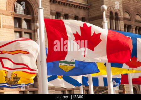 Canadian flag downtown Toronto - Stock Image