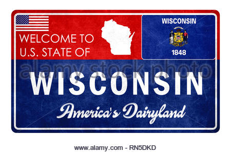 Welcome to Wisconsin - grunde sign - Stock Image