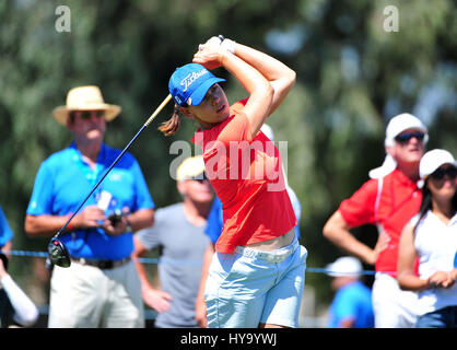Rancho Mirage, California, USA. 2nd Apr, 2017. Karine Icher tees off on the 2nd during the final round of the ANA - Stock Image