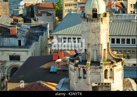 Istanbul,Turkey - July,4,2015:Istanbul scenery,roofs of old town,near Galata Bridge,Istanbul,Turkey - Stock Image