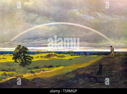 Caspar David Friedrich, Landscape On Rügen With Rainbow, painting, c. 1810 - Stock Image