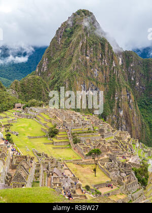 Clouds covering the Machu Picchu site - Stock Image