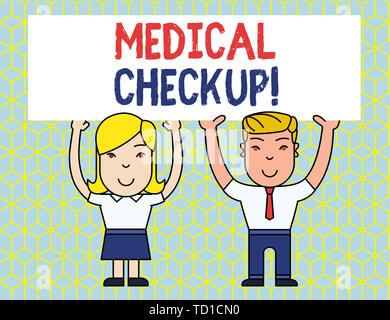 Handwriting text Medical Checkup. Conceptual photo thorough physical examination includes variety of tests Two Smiling People Holding Big Blank Poster - Stock Image