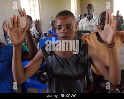 TANZANIA  -  photo by Sean Sprague 2018  Sunday mass with Fr Ed Schoellmann at an out station chapel in Mwamanimba. - Stock Image