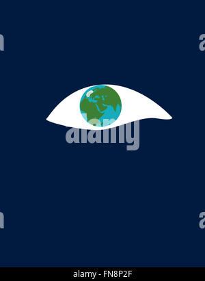 Earth as large eye - Stock Image