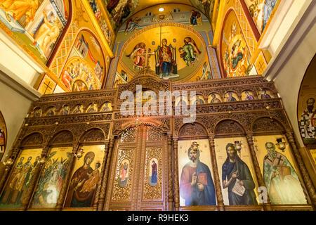 Orthodox Church Korca Albania interior - Stock Image