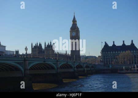 Houses of Parliament ,  Westminster Bridge and River Thames, London, UK - Stock Image