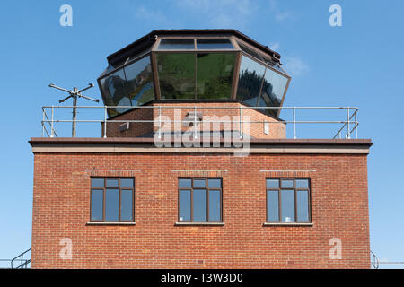 The Control Tower and observation deck at Greenham Common near Newbury, Berkshire, UK, recently opened to the public. - Stock Image
