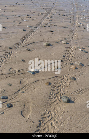 Impressions of tyre tread / tyre marks on wet sandy beach. - Stock Image