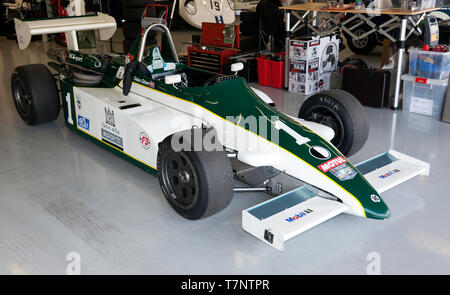 Gaius Ghinn's, 1983, Ralt RT3 Historic Formula 3 car,  in the International Pit Garage, during the 2019 Silverstone Classic Media Day. - Stock Image