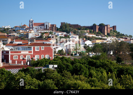 Portugal, Algarve, Silves, View of Cathedral, Castle & Town - Stock Image