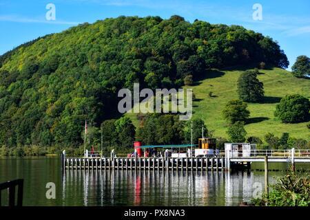 Pooley Bridge pier,Lake District,Cumbria,England,UK - Stock Image