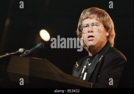 Elton John performing at the National Indoor Arena, Birmingham during The One Tour. 30th June 1992. - Stock Image