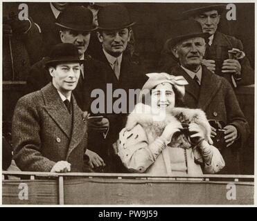 George the sixth with his wife Queen Elizabeth Bowes Lyon at the Grand National horse race in Aintree Liverpool dated March 19th 1937 - Stock Image