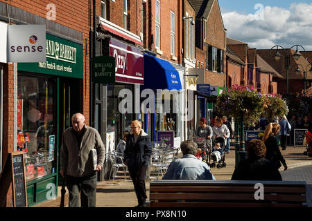 Town centre shops on pedestrianised Victoria Street in Crewe town centre UK - Stock Image