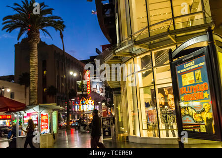 The corner of Hollywood and Highland at dusk in Hollywood California USA - Stock Image