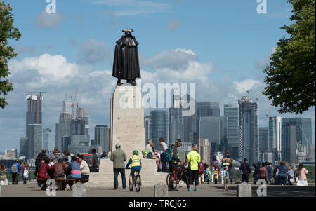 London England UK. Canary Wharf and statue of General Wolfe of Quebec photographed in Greenwich Park t London. May 2019 - Stock Image