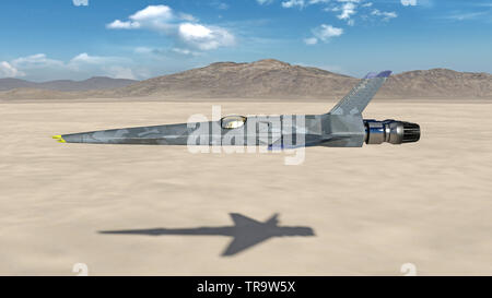 Fighter Jet, futuristic military airplane flying over a desert with mountains in the background, side view, 3D render - Stock Image