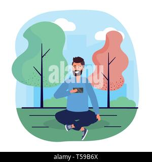 man with smartphone trechnology and seating with trees vector illustration - Stock Image