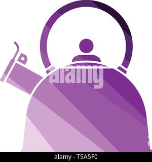 Kitchen kettle icon. Flat color design. Vector illustration. - Stock Image