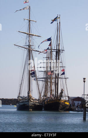 Dana Point, California, USA. 5th September, 2014. The Tall Ships Festival sunset parade sail in Dana Point was canceled - Stock Image