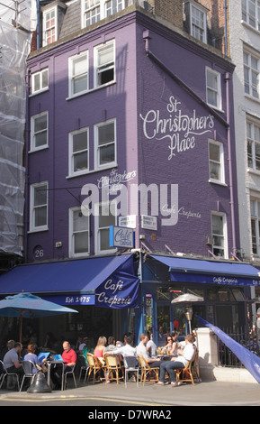 Cafe Creperie at St Christopher's Place London - Stock Image