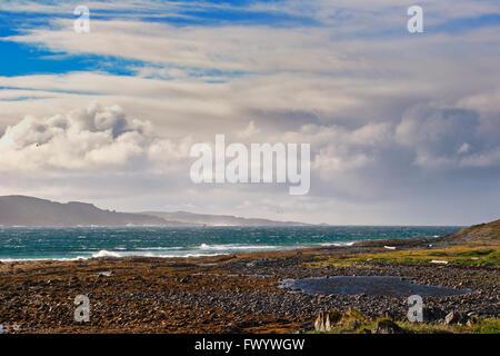 Rain shower and sunshine over Bussesundet seen from island Vardø in the Varanger-region in arctic Norway at - Stock Image