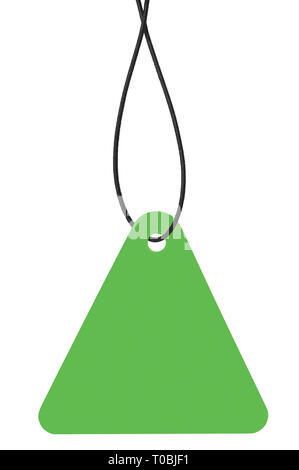 Blank Bright Green Cardboard Sale Tag And String, Empty Price Label Triangle Badge Background, Vertical Hanging Isolated Macro Closeup Copy Space - Stock Image