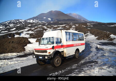 Catania, Sicily, Italy. 23th December, 2018. Tourists visit Europe's most active volcano, Mount Etna, a day before it erupts. Credit: jbdodane/Alamy Live News - Stock Image