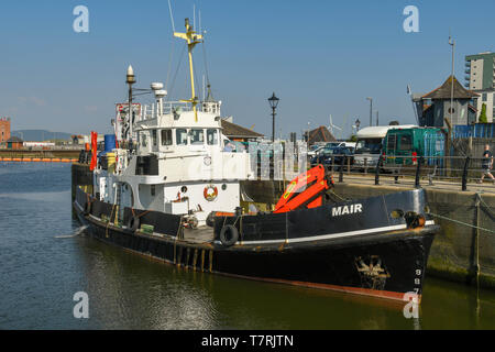 SWANSEA, WALES - JULY 2018: The motor vessel 'Mair' docked in Swansea marina - Stock Image