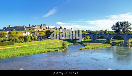 River Aude and Carcassonne Old City - Stock Image